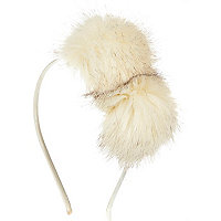 Girls white pom pom head band