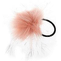 Girls pink pom hair bobble