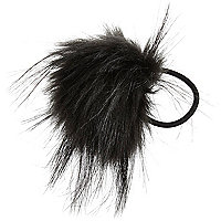 Girls black pom hair bobble