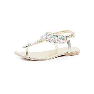 Girls gold embellished T bar sandals