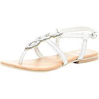 Girls white embellished strappy sandal