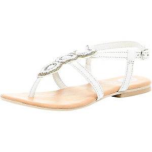 Girls white embellished strappy sandal