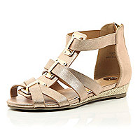 Girls rose gold gladiator sandal