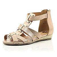 Girls rose gold gladiator sandal