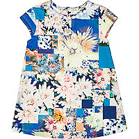Mini girls floral print short sleeve dress