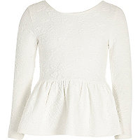 Girls white peplum floral jacquard top