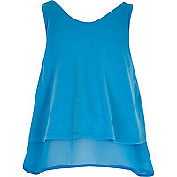 Girls blue double layer chiffon tank top