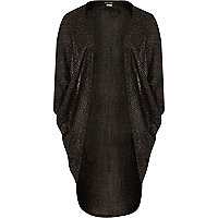Girls black shimmer drape cardigan