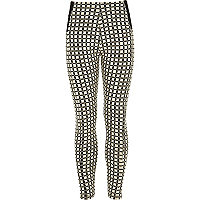 Girls black grid print leggings