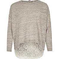 Girls grey insert lace back long sleeve top