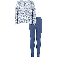 Girls blue love top and legging set