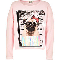 Girl pink pug shot sweatshirt