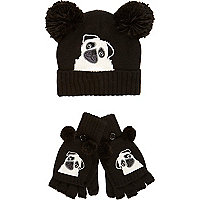 Girls black pug hat and glove set