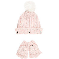 Girls pink gem hat and glove