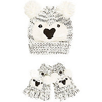 Girls cream bear hat and glove set