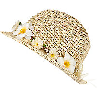 Girls brown straw daisy trilby hat
