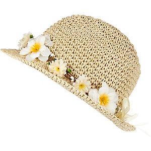 Girls brown straw daisy trilby hat