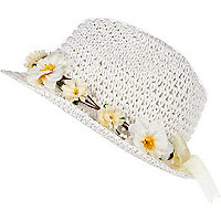 Girls white straw floral trilby hat