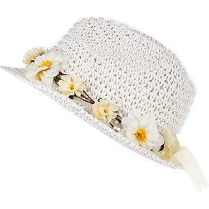 Girls white straw floral trilby hat