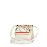Girls white aztec cross body bag