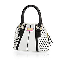 Girls white and black tote bag