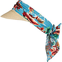 Girls blue tropical straw sun visor