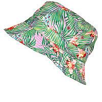Girls green tropical print bucket hat