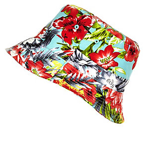 Girls red tropical print bucket hat