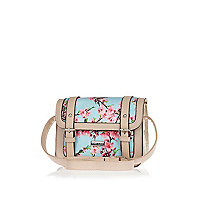 Girls blue floral print satchel bag