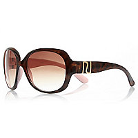 Girls pink oversize brown tinted sunglasses