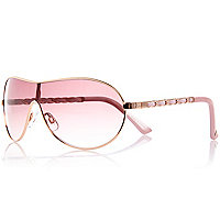 Girls pink chain visor sunglasses