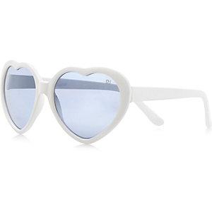 Girls white heart frame sunglasses