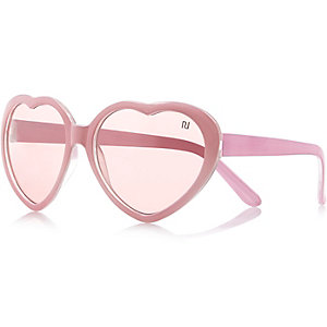 Girls pink heart frame sunglasses