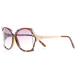 Girls brown tortoise shell square sunglasses