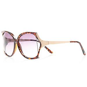 Girls brown tortoise shell square sunglasses