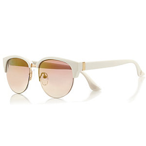 Girls white mirror lens retro sunglasses