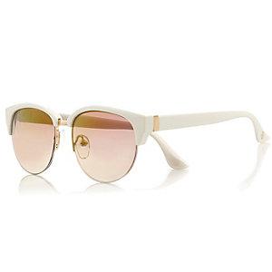 Girls white mirror lens retro sunglasses