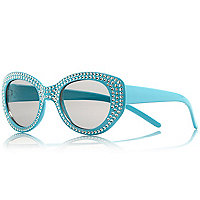 Girls turquoise gem retro sunglasses