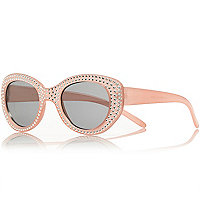 Girls pink gem retro sunglasses