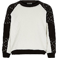 Girls black mixed jacquard jumper