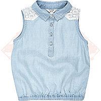 Mini girls bubble hem denim sleeveless shirt