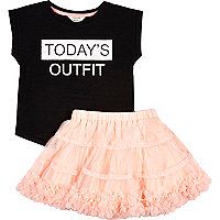 Mini girls pink tutu and t-shirt outfit