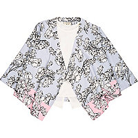 Mini girls floral kimono and peplum top set