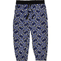 Mini girls blue printed hareem joggers