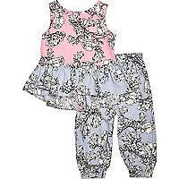 Mini girls floral print top and jogger outfit
