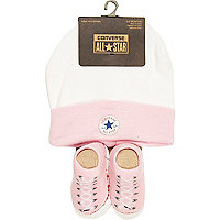 Mini girls pink converse hat and bootie set