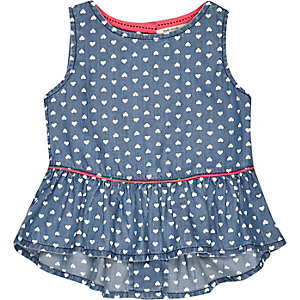 Mini girls blue denim heart print peplum top