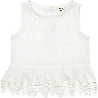 Mini girls cream Victorian peplum top
