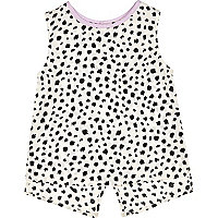 Mini girls black print split back top