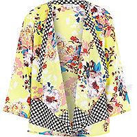 Girls yellow floral heart print kimono